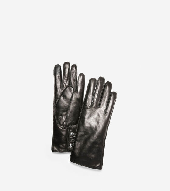 Accessories > Leather Gloves with Logo Button
