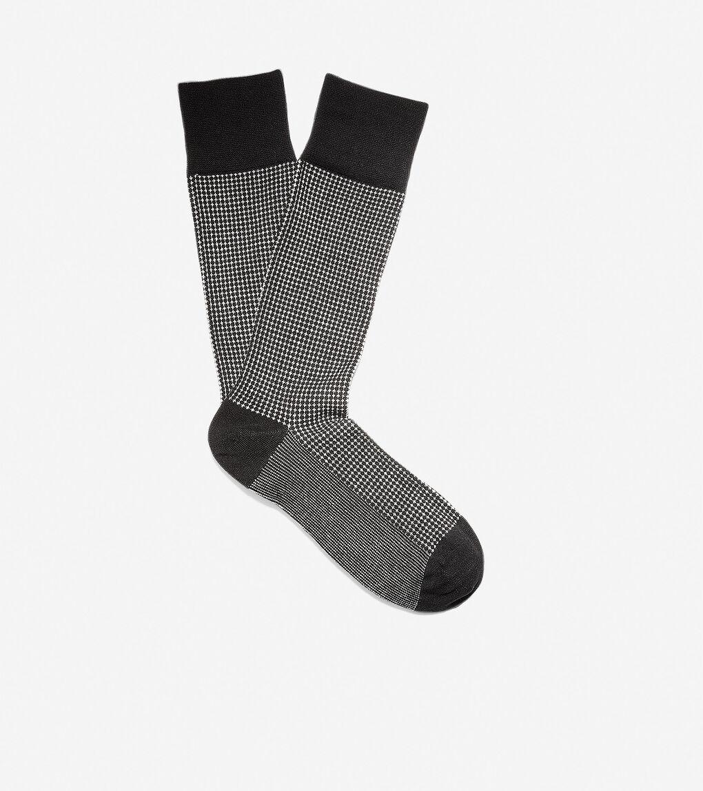 Mens Mini Check Neat Crew Socks