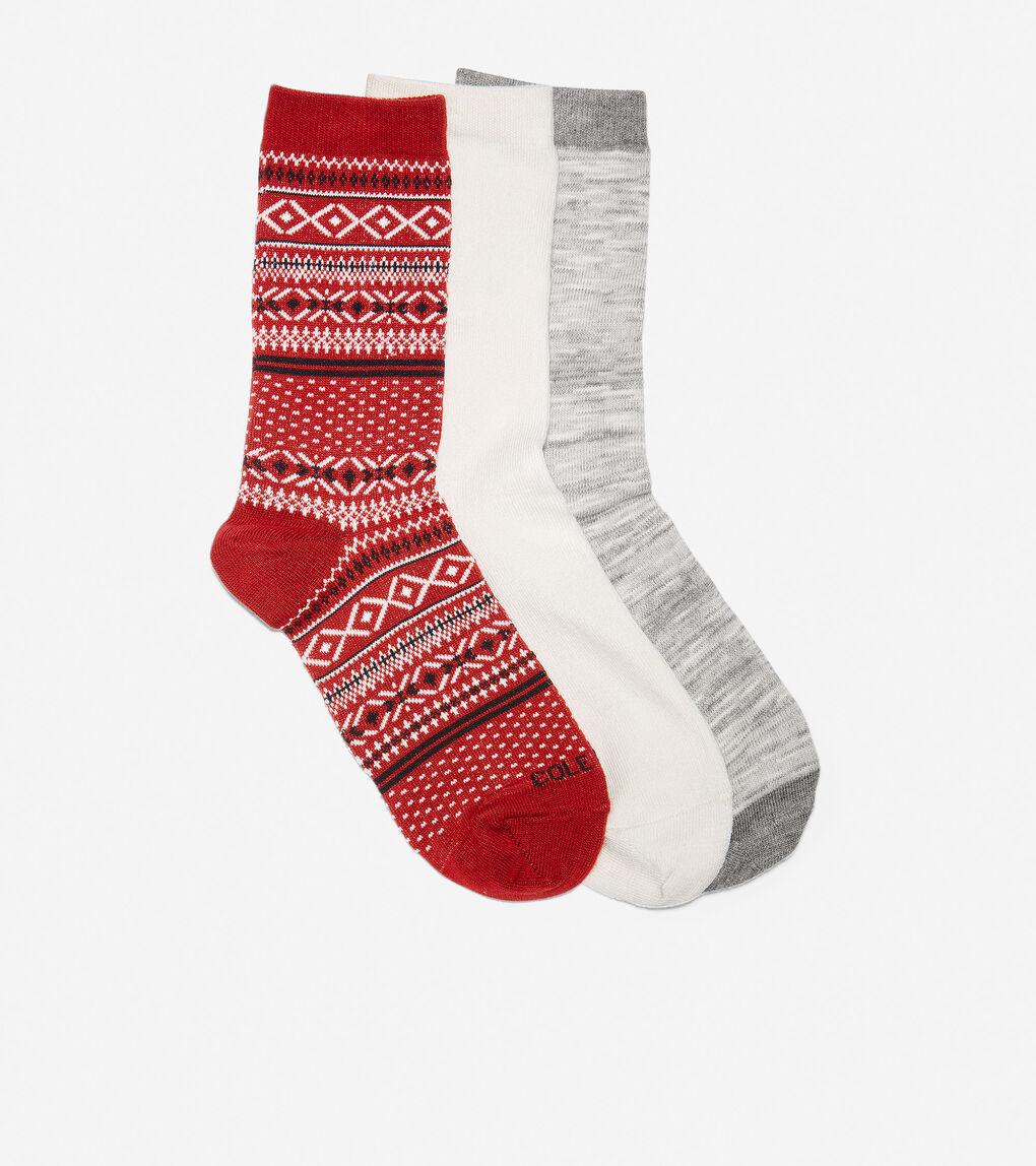 WOMENS 3 Pair Isle Boot Sock Gift Box