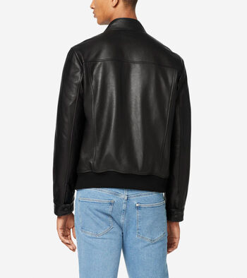 Leather Jacket with Knit Hem