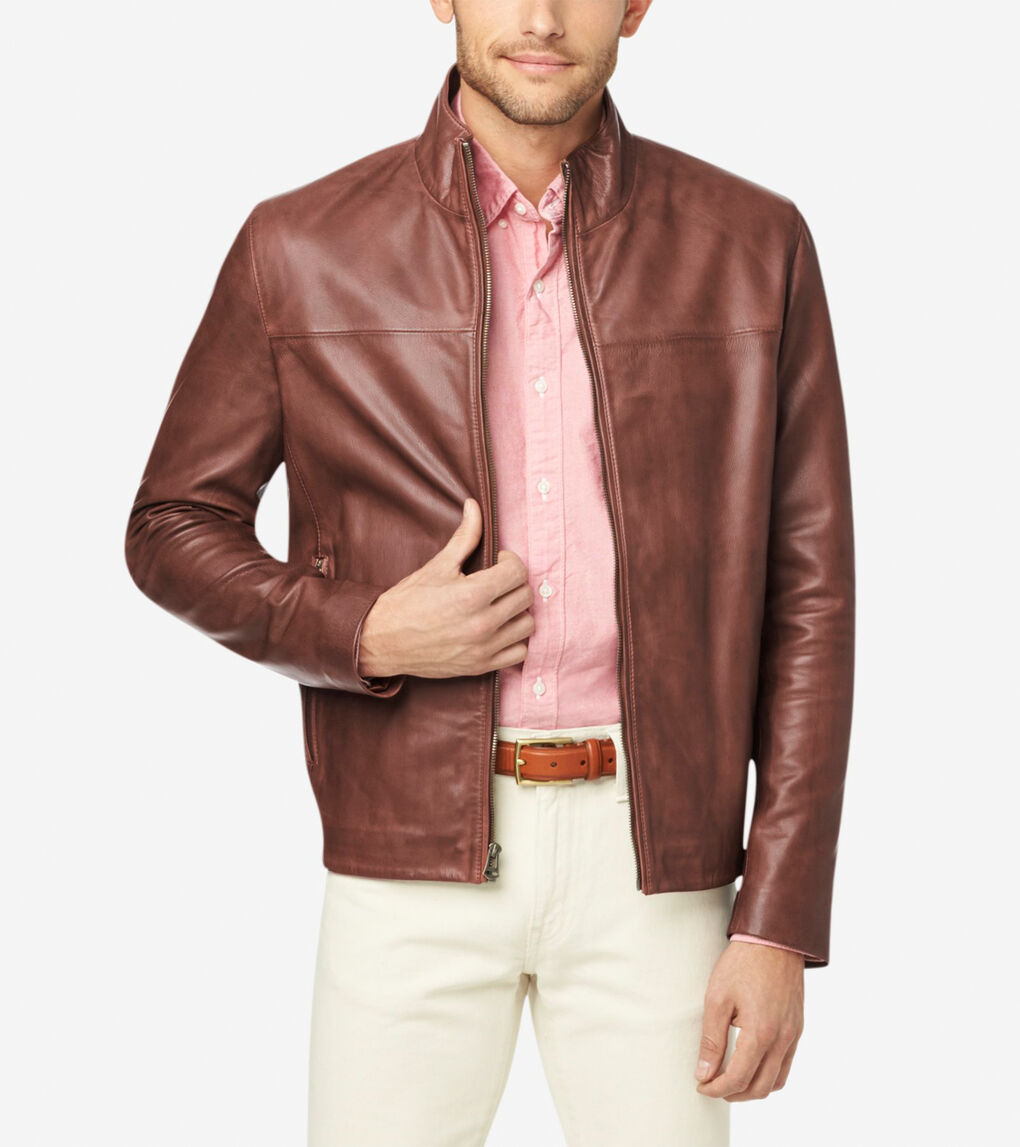 Mens Washed Leather Jacket