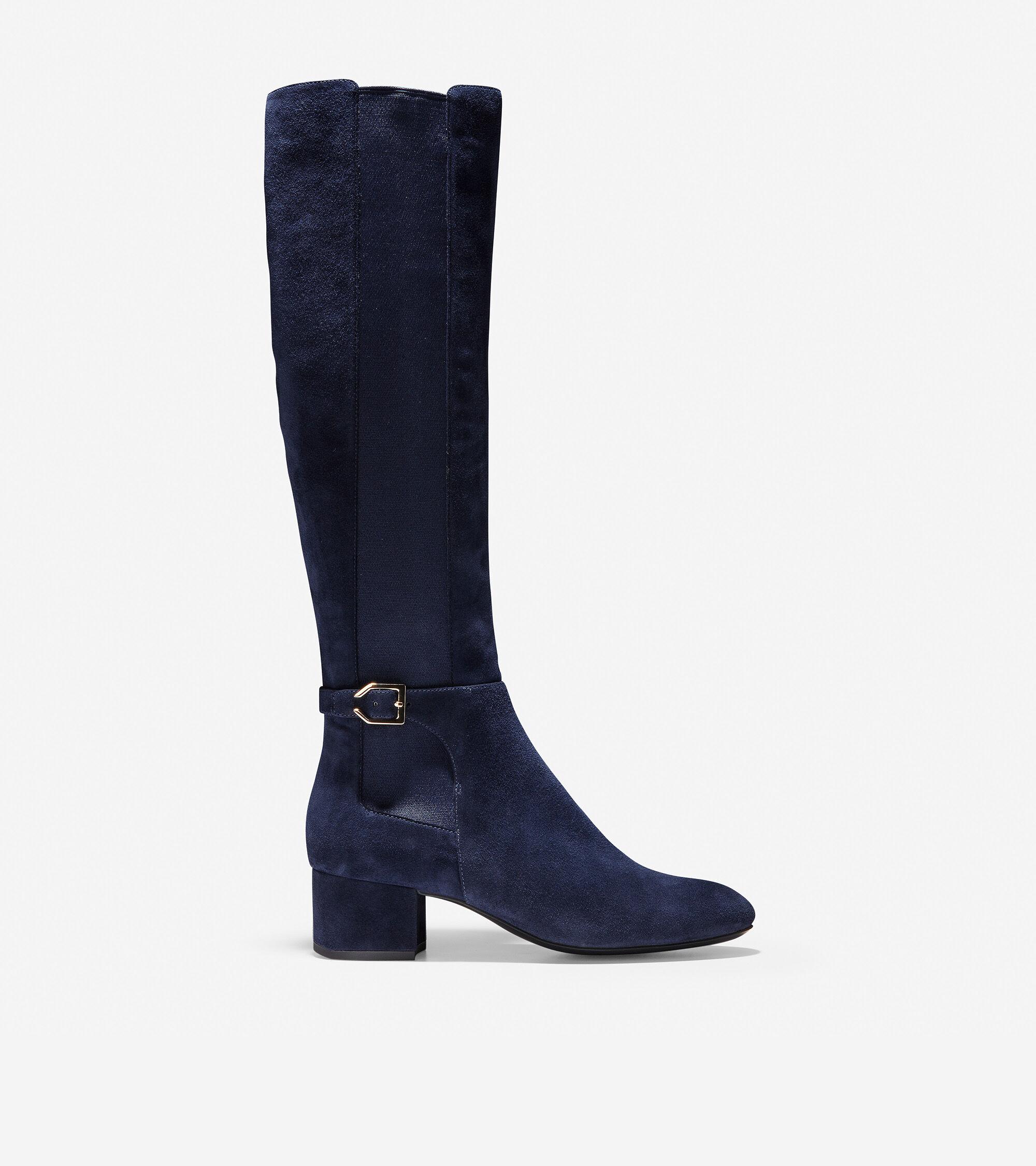 096cb33e7eb Women s Avani Stretch Boots in Marine Blue Suede