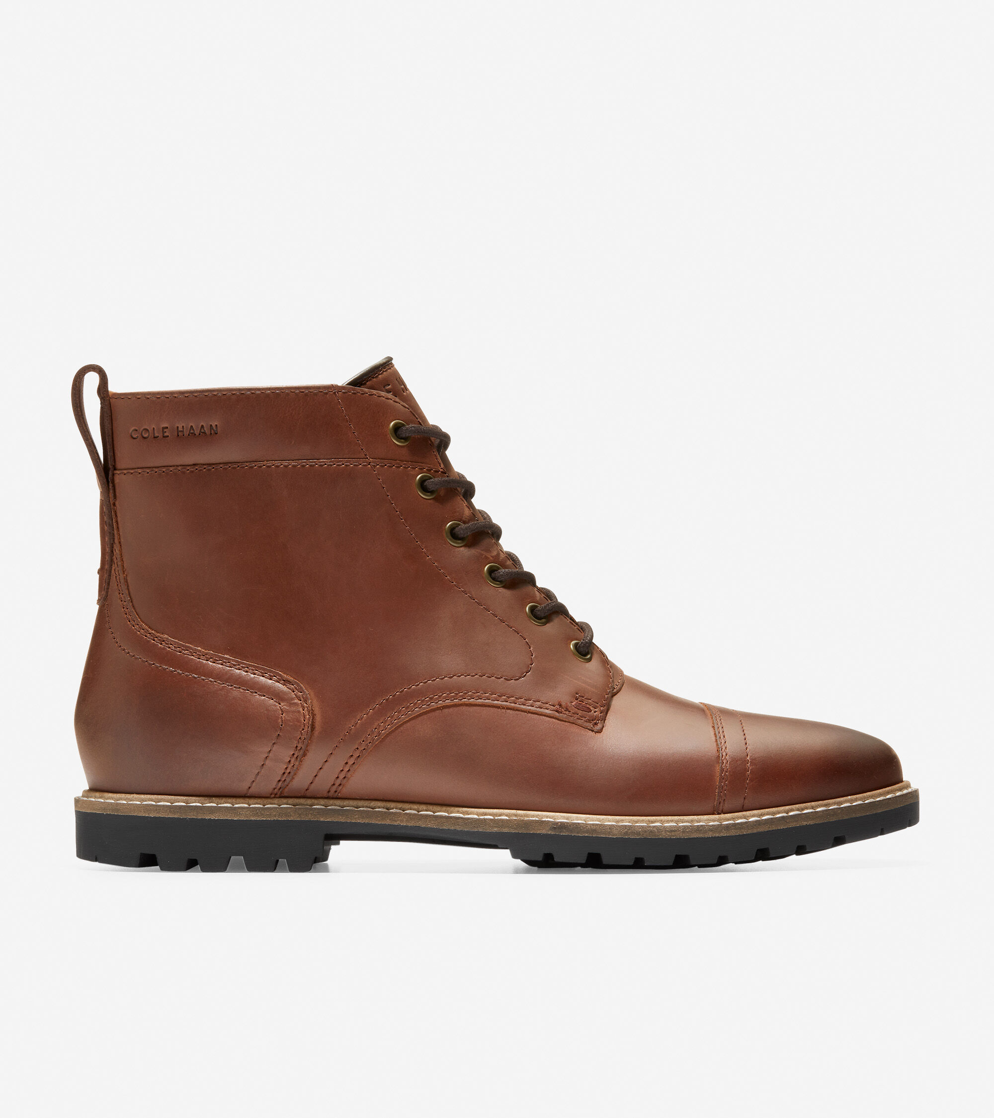 Nathan Cap Toe Boot in Chestnut Leather