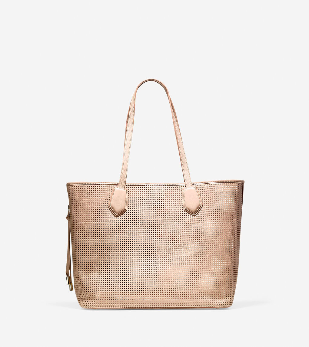 4a5e0656f6 Women's Abbot Perforated Tote in Toasted Almond   Cole Haan US