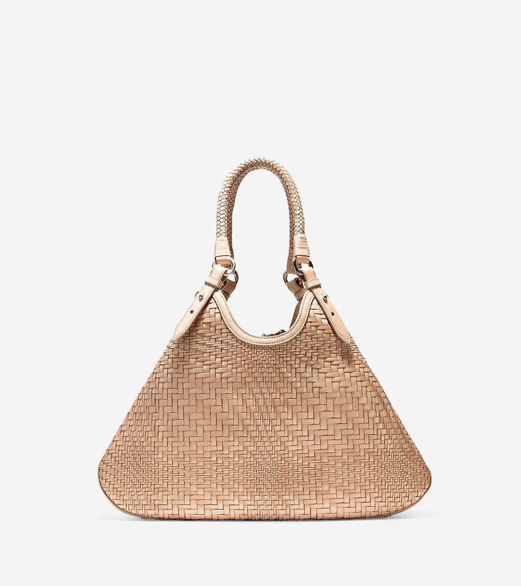 d75b5d2c20b2 Women's Genevieve Weave Large Triangle Tote in Sandstone | Cole Haan US