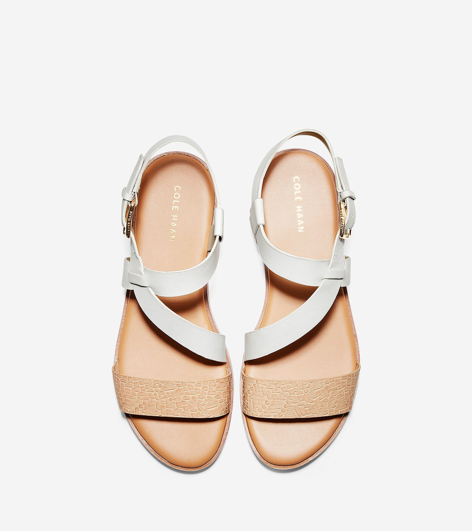 White Leather-Nude Woven Leather