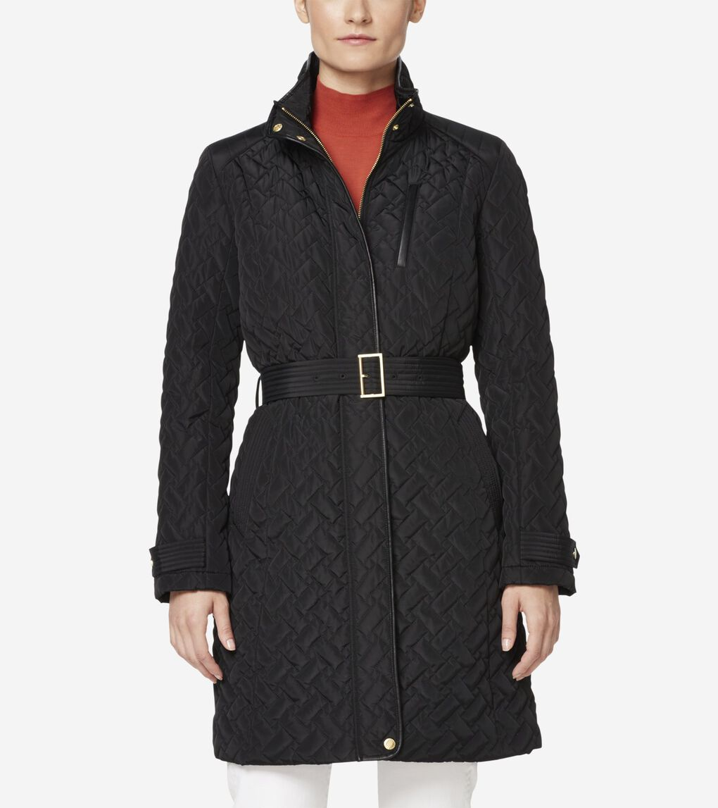 Womens Signature Quilted Zip Front Coat