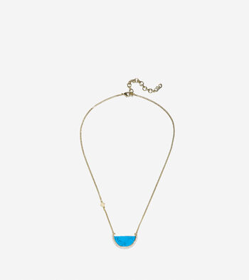 Spring Street Fashion Semi-Precious Half-Moon Pendant Necklace
