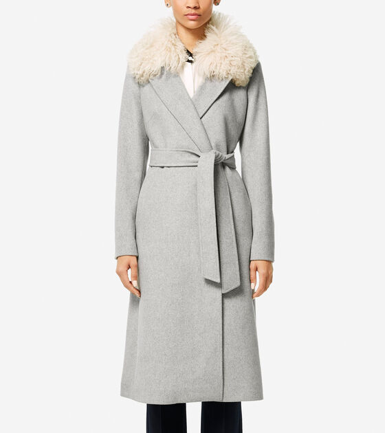 Accessories & Outerwear > Collection Shearling Collar Wool Twill Maxi Coat