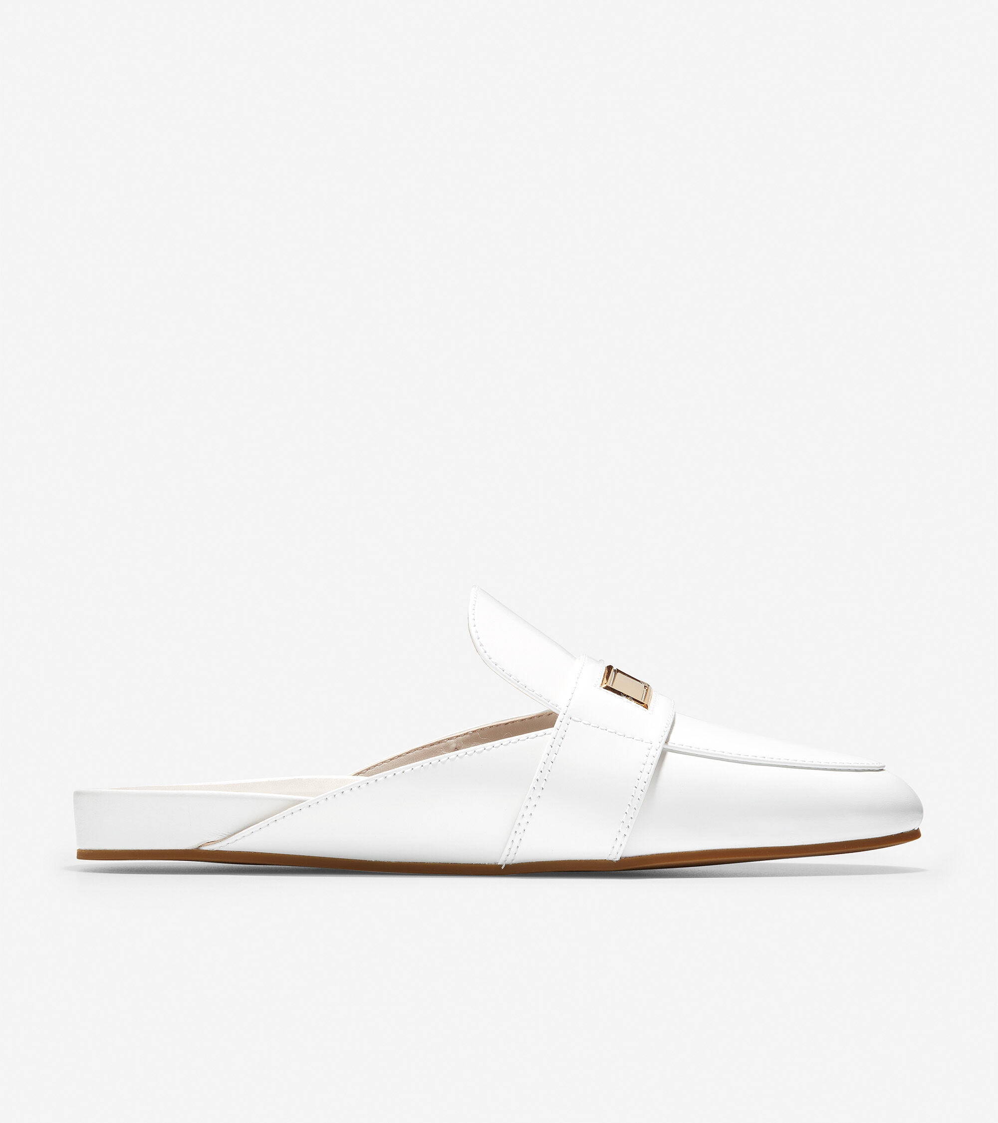 Aria Mule in Optic White Box Leather