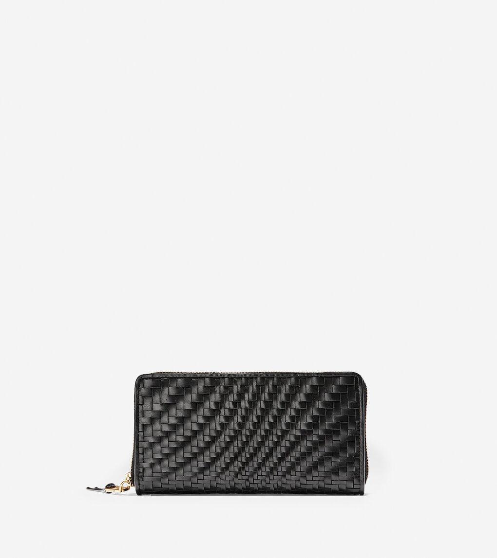 82ec44b8cd7 Women's Genevieve Continental Wallet in Black Woven Leather | Cole ...