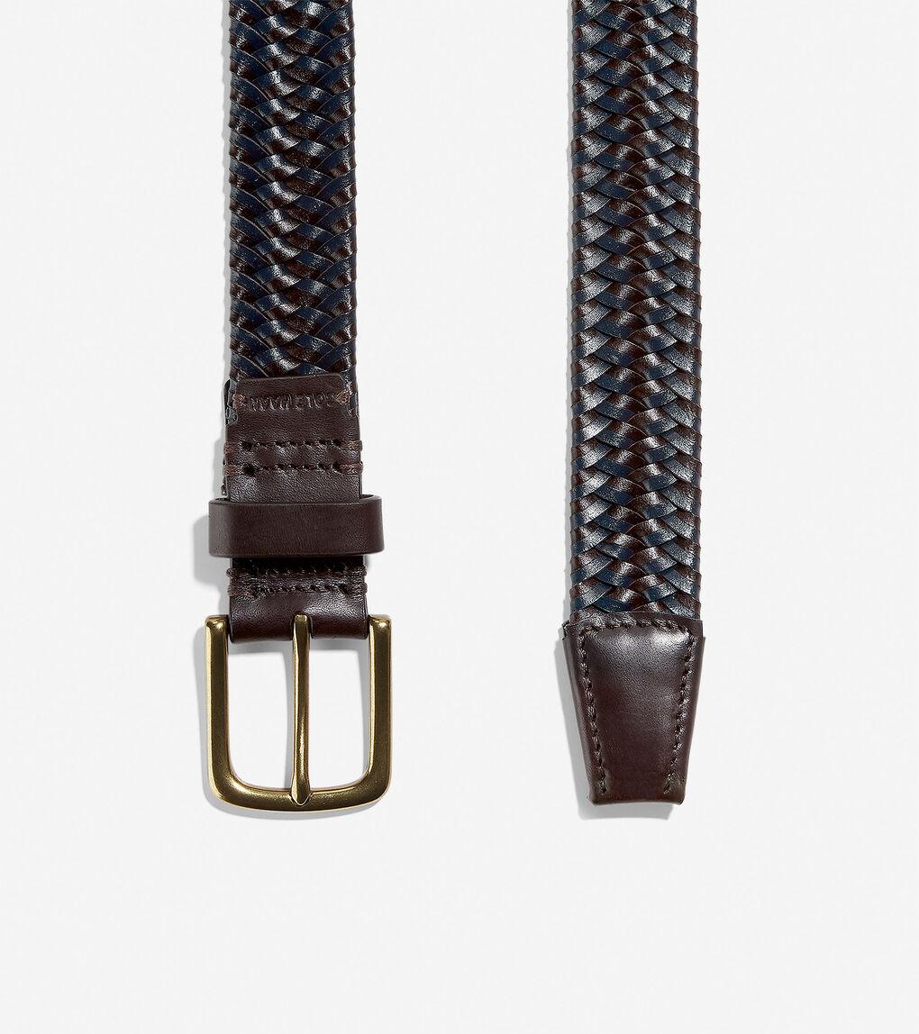 Mens Two Tone 32mm Braided Belt