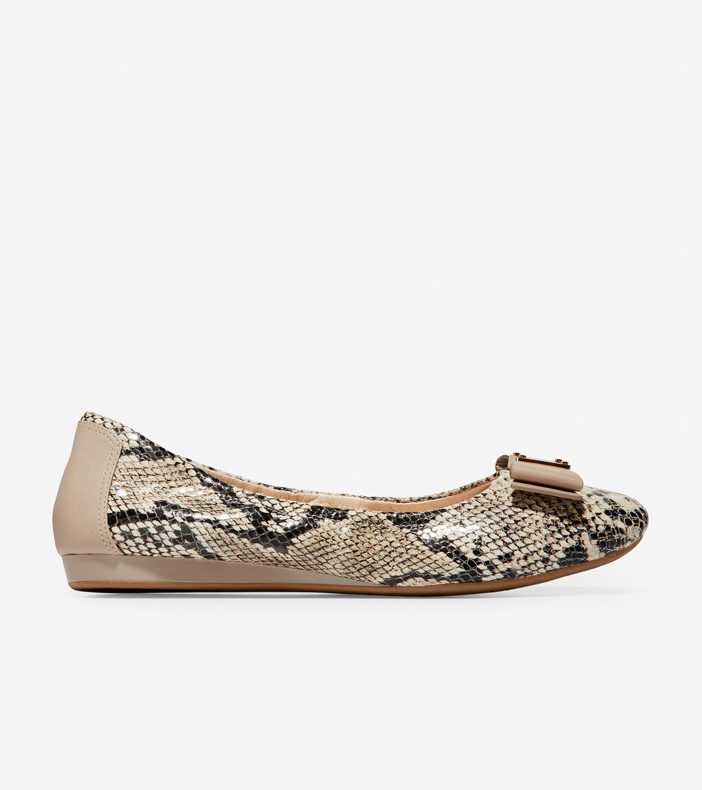 f99775879 Women's Tali Bow Ballet Flat in Natural Roccia Snake Print | Cole ...