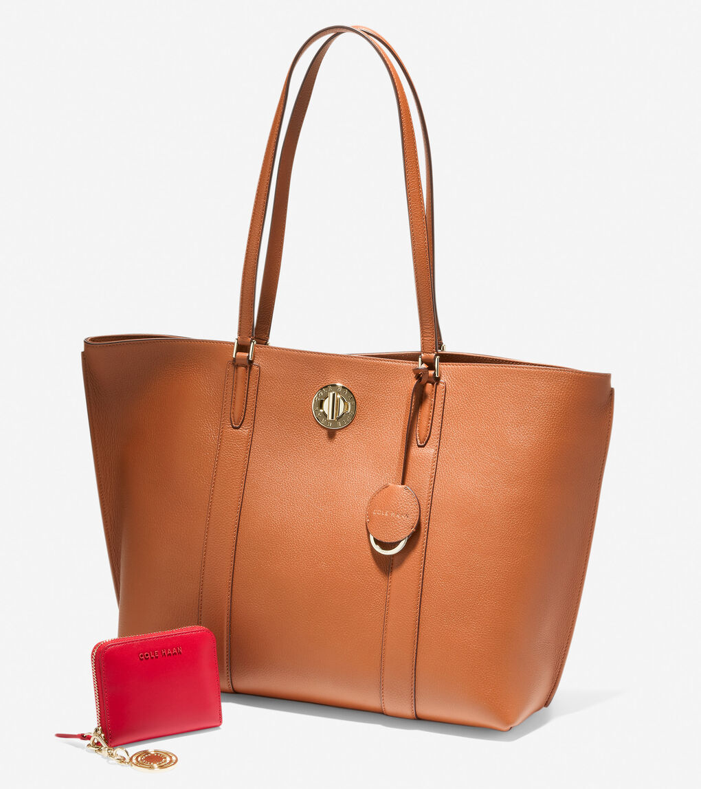 Large Turnlock Tote & Card Case for $150