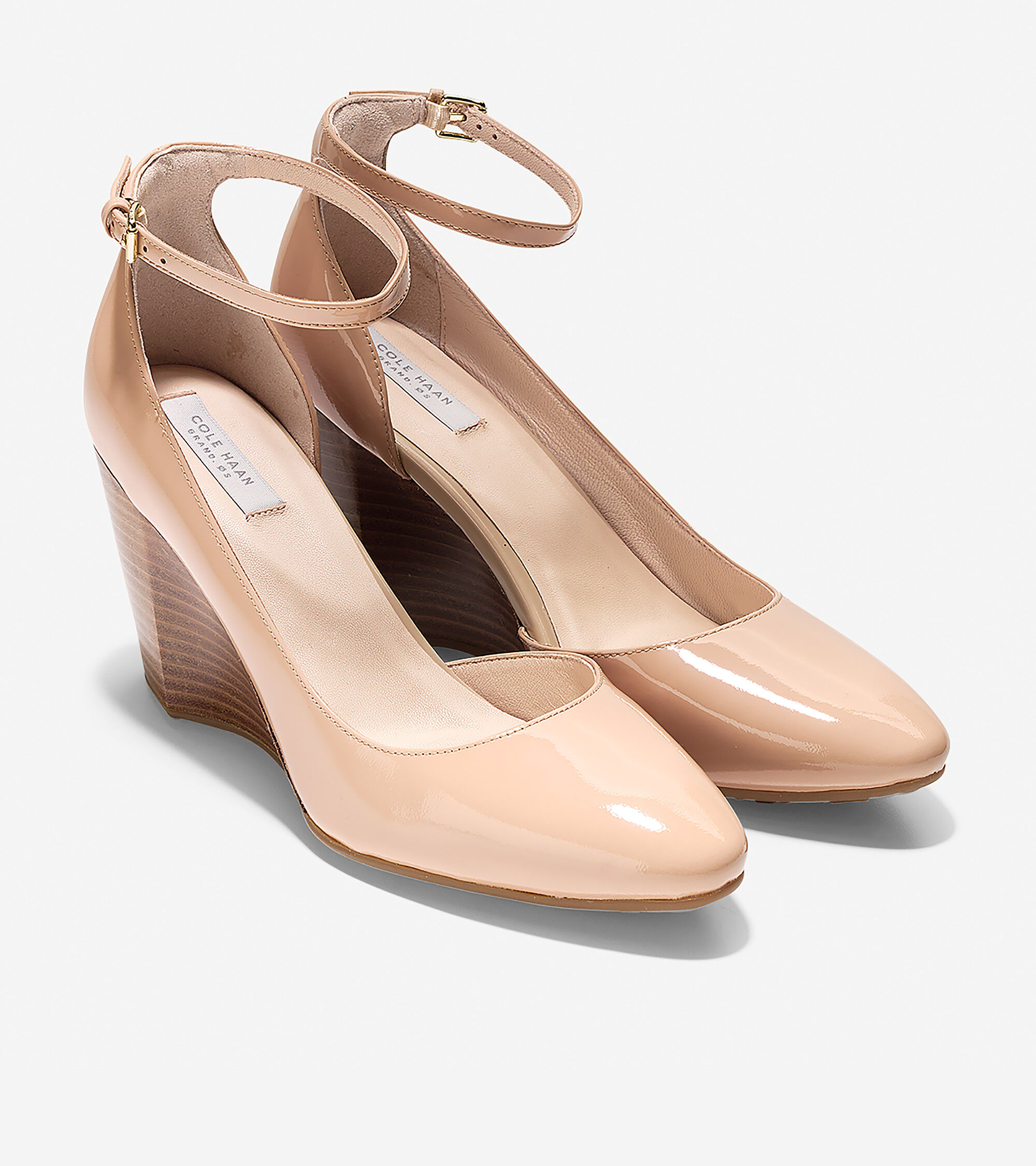 98d422946272 Lacey Ankle Strap Wedges 85mm in Nude Patent | Cole Haan