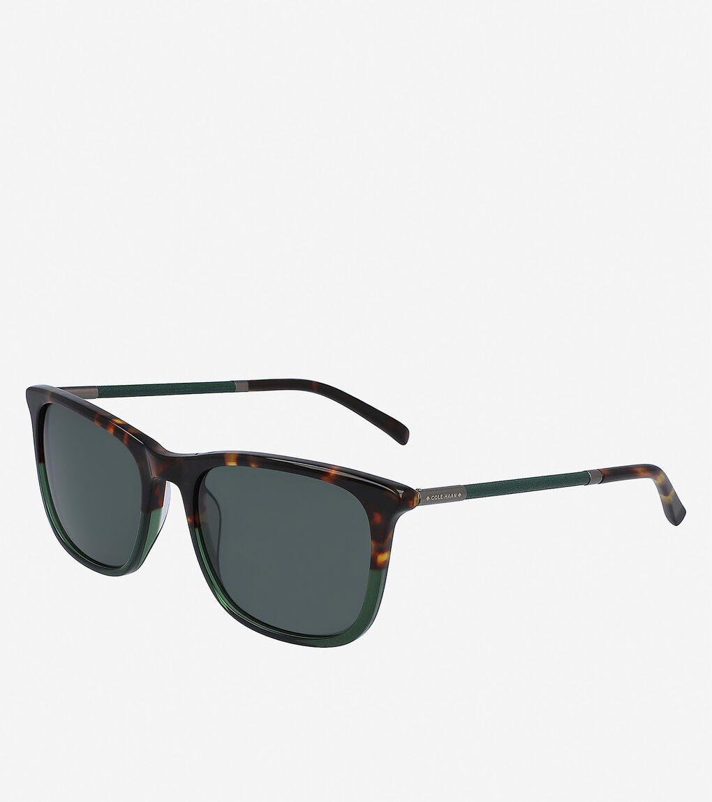 Mens Leather Rectangle Sunglasses