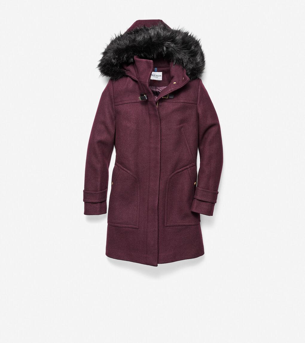 WOMENS Wool Twill Hooded Duffle Coat