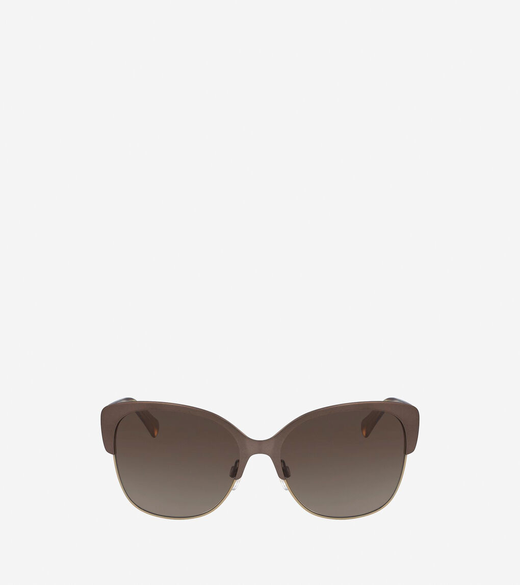 Womens Metal Acetate Weave Butterfly Sunglasses