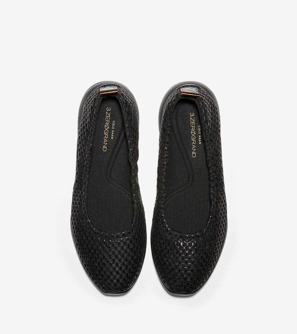 Womens 3.ZERØGRAND Rouched Slip-On Ballet Flat