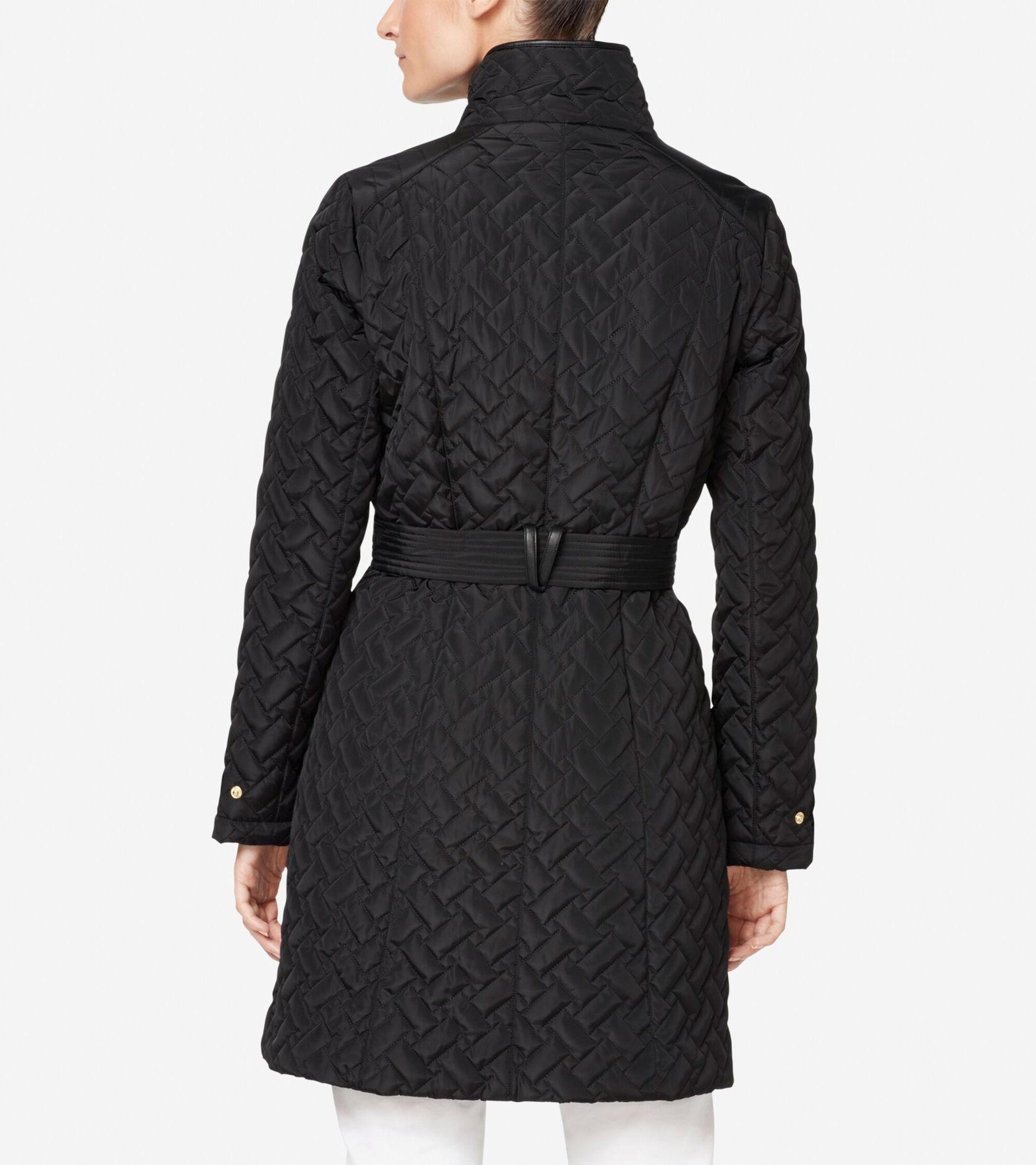 244afe91321 Cole Haan Signature Quilted Zip Front Coat in Black   ColeHaan.com