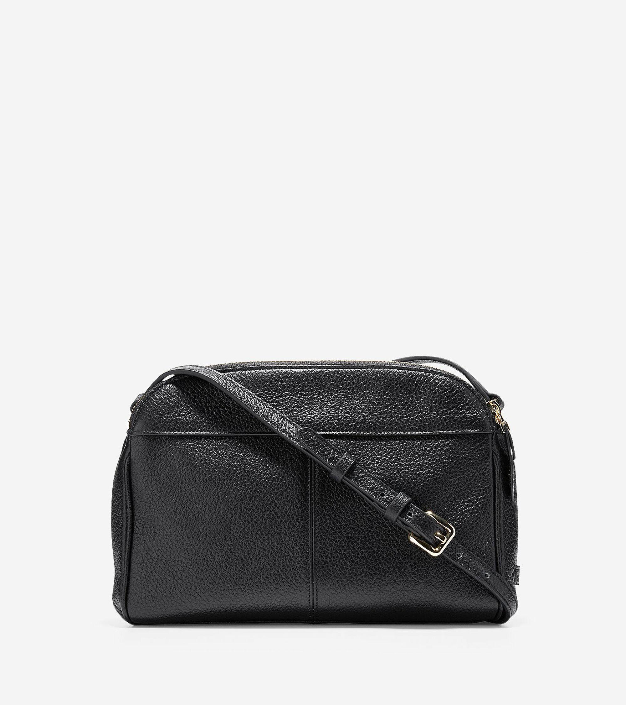 Womens Tali Double Zip Crossbody Bag in Black
