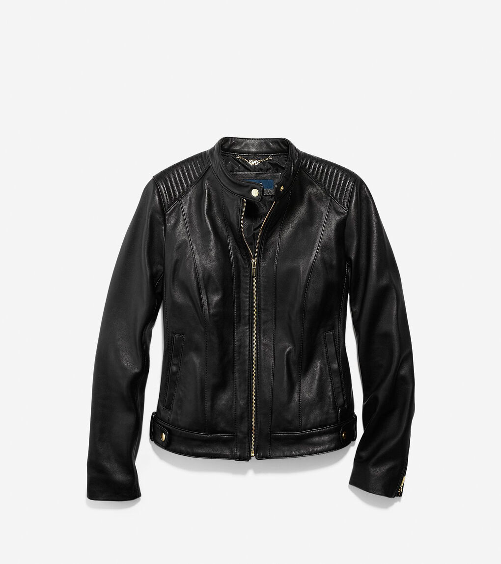 Womens Smooth Leather Racer Jacket