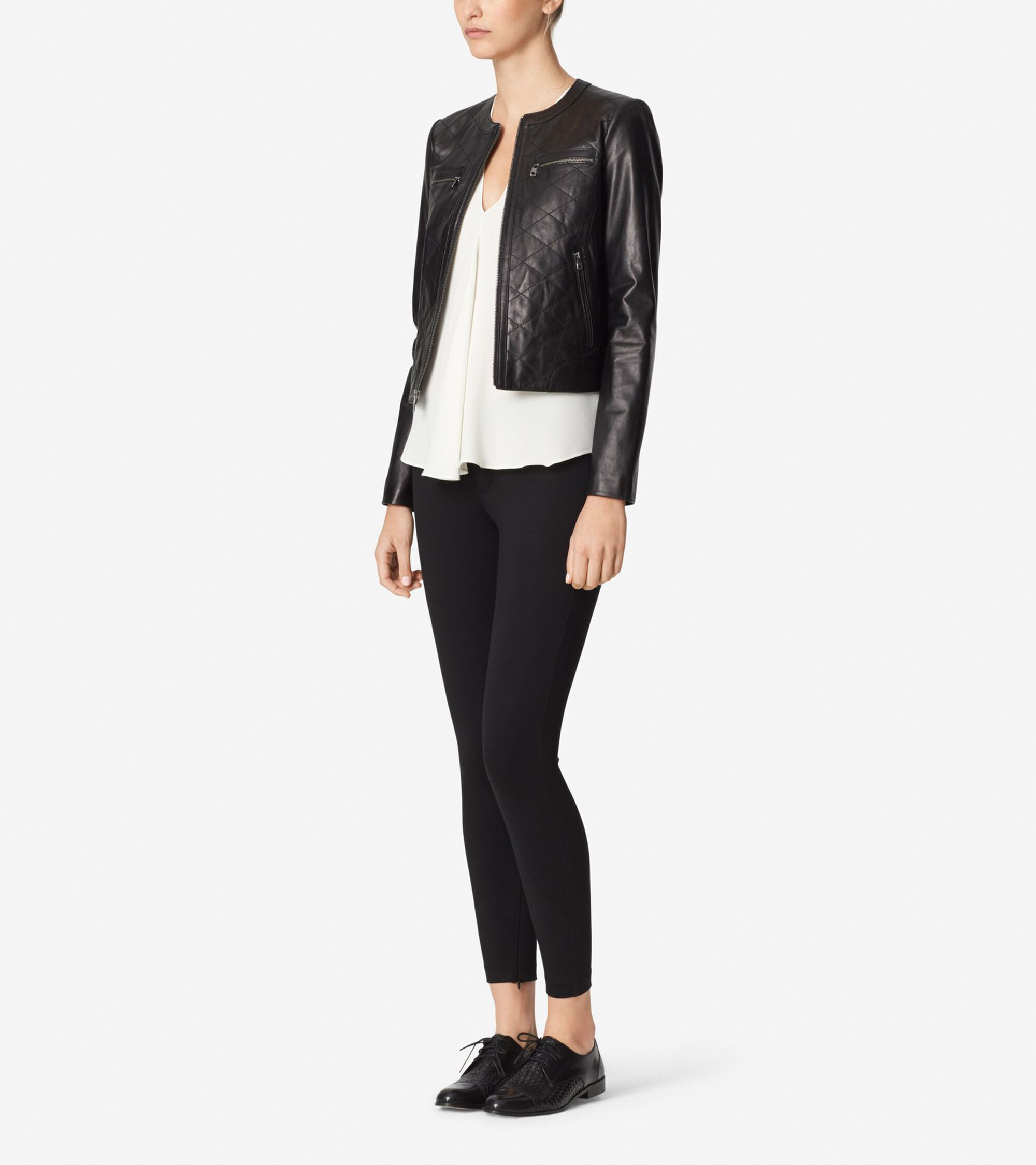 Womens Collarless Leather Jacket In Black Cole Haan