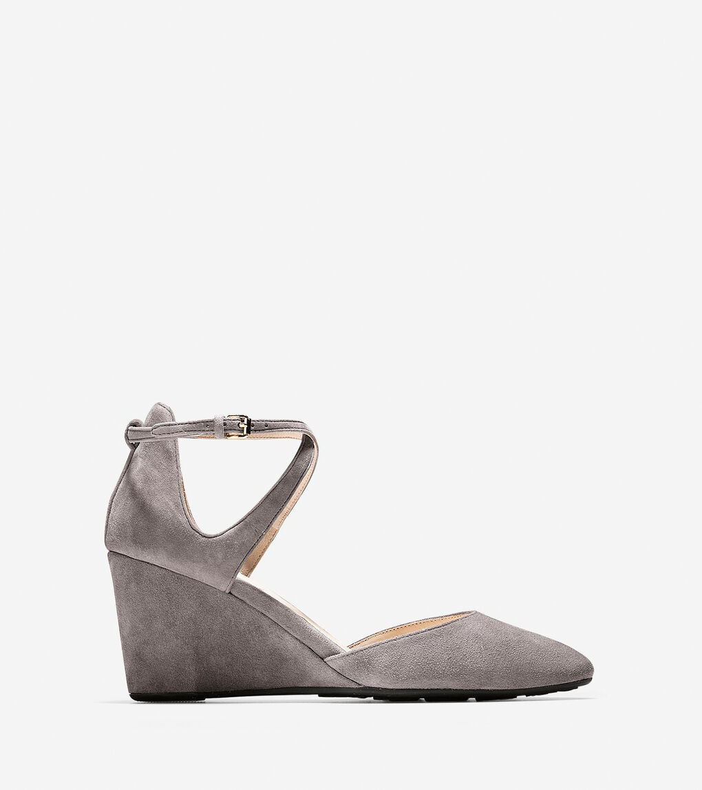 4a04e5b534c2 Women's Lacey Ankle Strap Wedges 75mm in Stormcloud | Cole Haan
