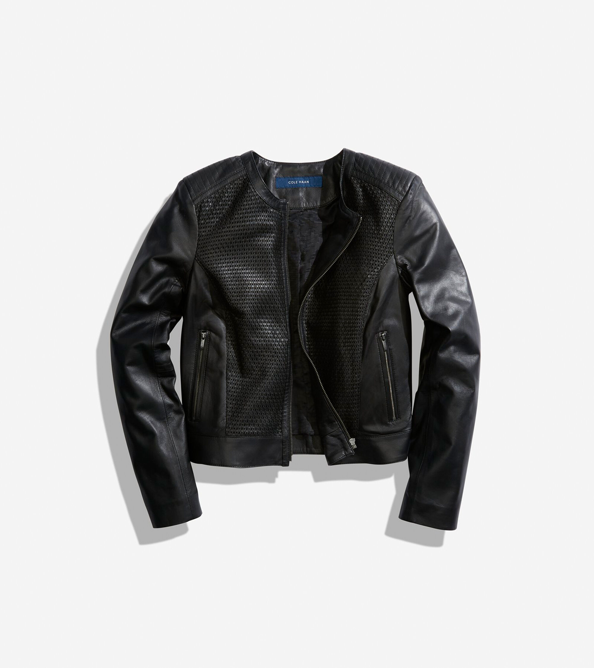 56a2a96c0b Luxe Lamb Leather Woven Collarless Moto Jacket in Black