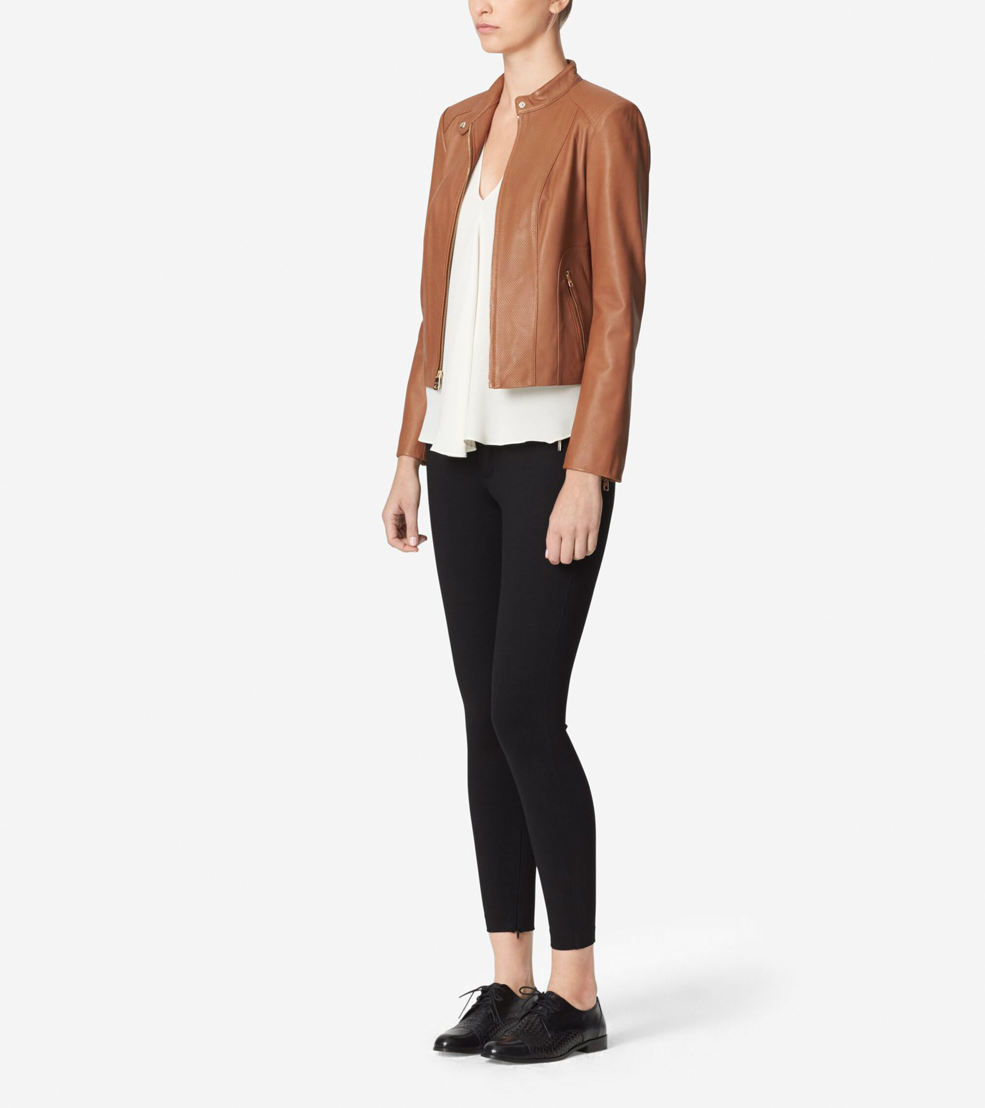 Womens Leather Racer Jacket In Chestnut Cole Haan