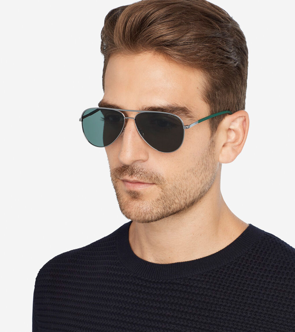 bc0926caf Men's Classic Aviator Sunglasses in Green | Cole Haan US