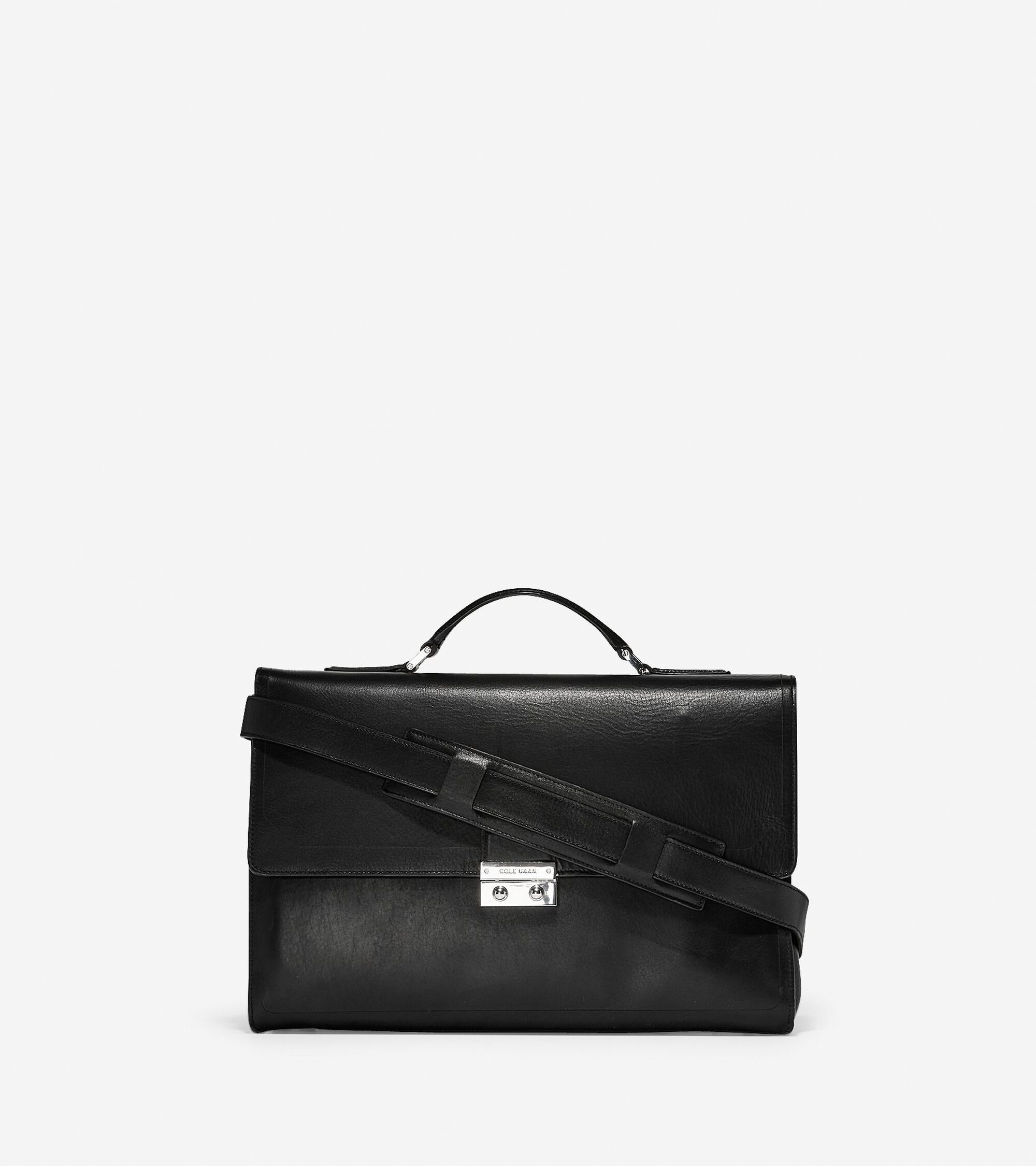 Mens Hamilton Grand Double Gusset Briefcase In Black