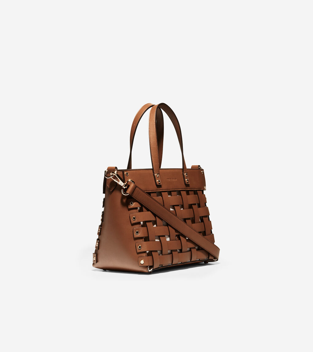 WOMENS Leather Basket Tote Bag