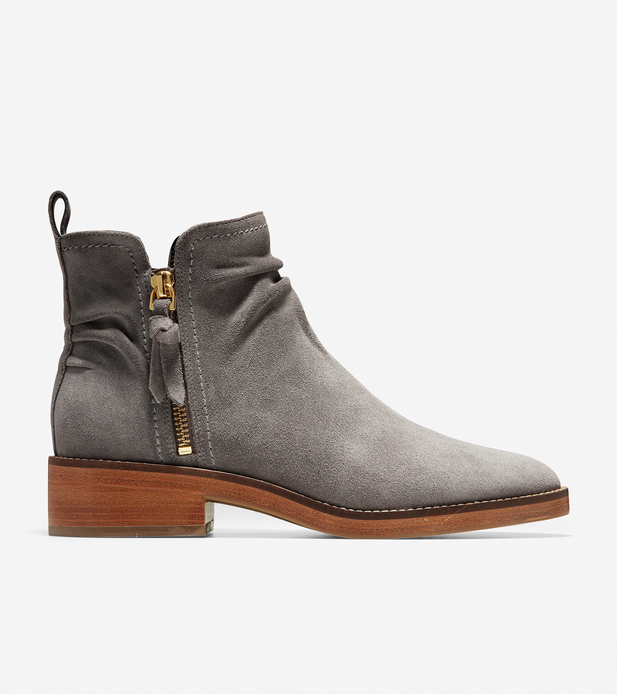 Suede upper with ruched detail and side zippers. Lined in fabric. Padded leather sock lining. TPU outsole with welt. Lightweight Grand 360 outsole cushioned with GRANDFØAM for ultimate comfort. 35mm 1.4 inch stacked heel.