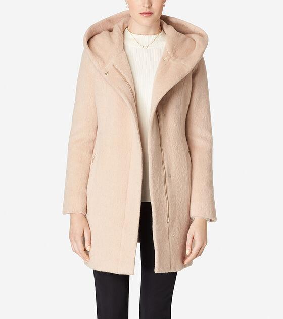 Outerwear > Italian Mohair Hooded Coat