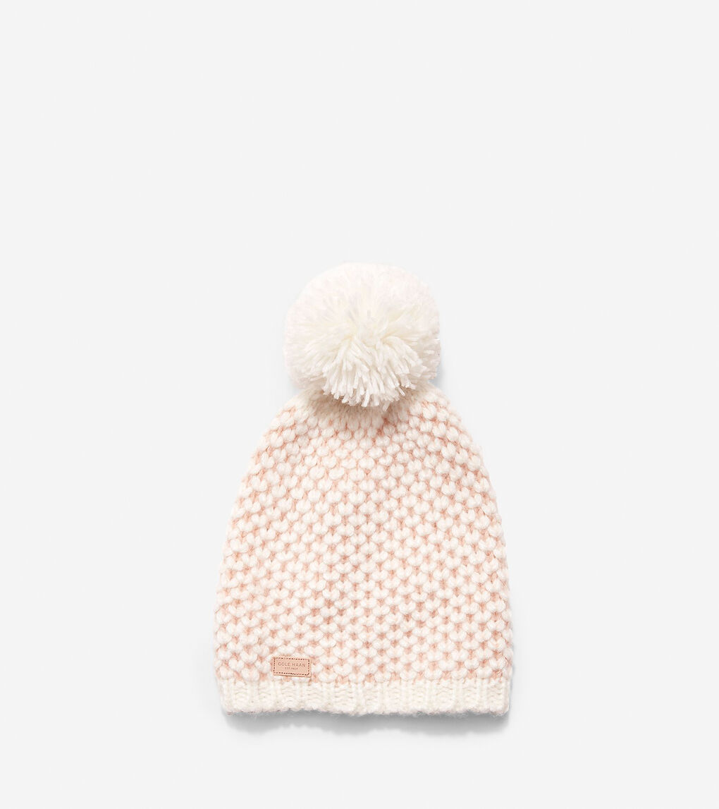 0e6cf0c81 Women's Chessboard Tuck Stitch Beanie Hat in Ivory-Rose | Cole Haan