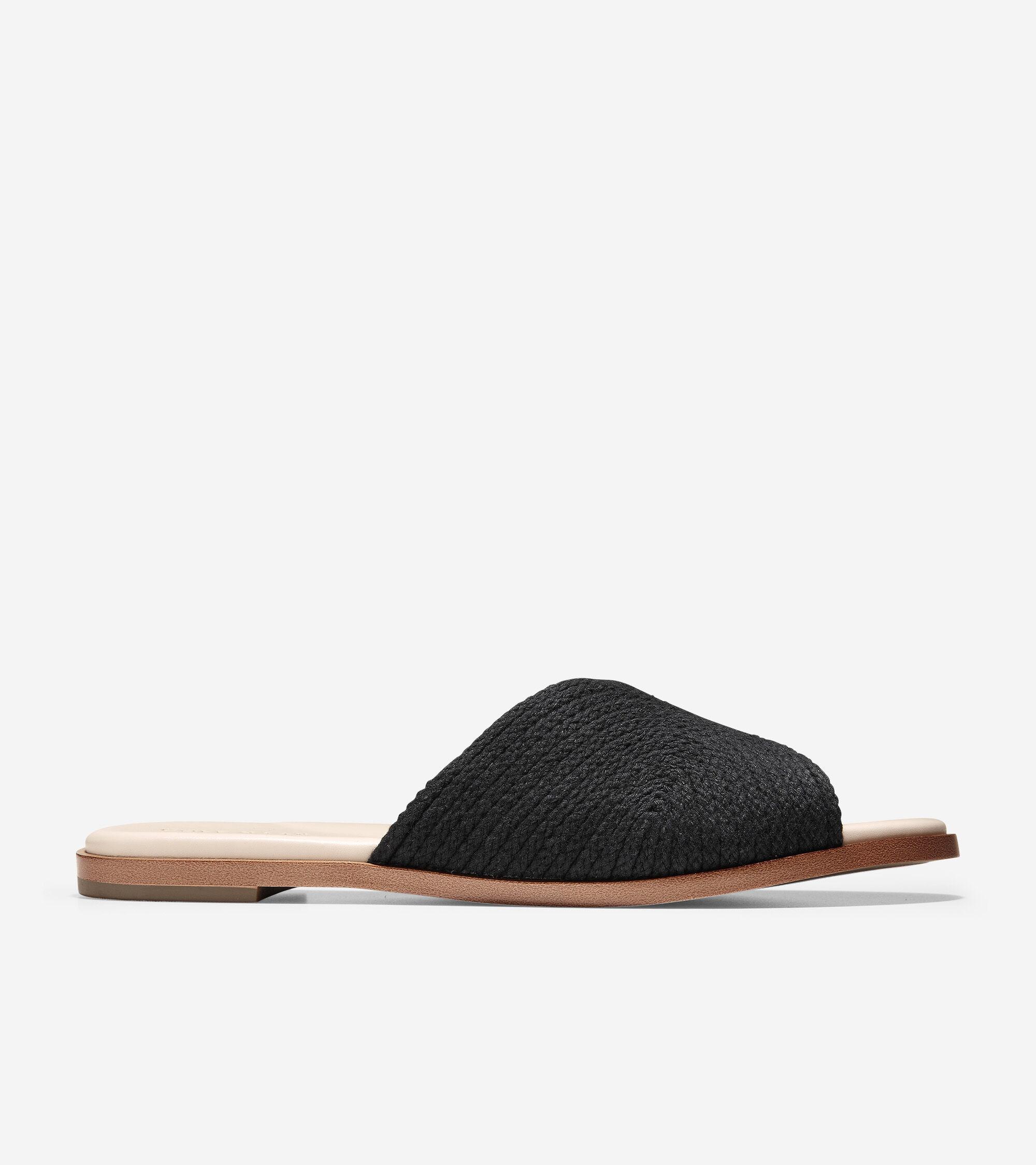 Ansley Slide Sandal in Black Jute