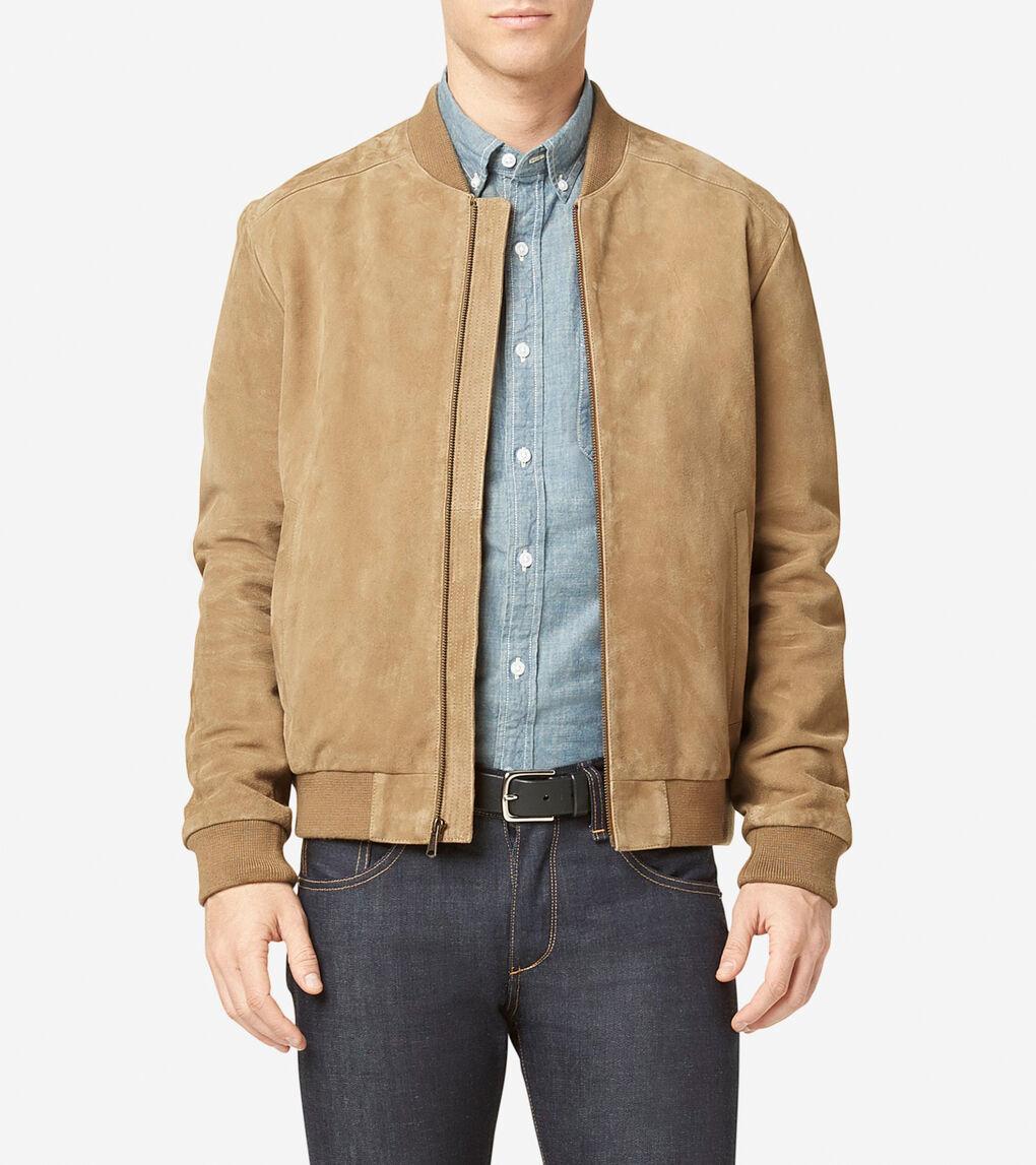 b180e01be Men's Suede Varsity Jacket in Sand | Cole Haan US