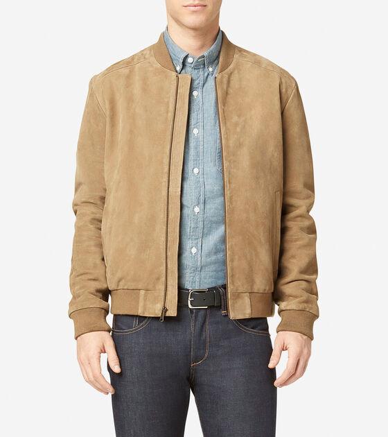 Men S Suede Varsity Jacket In Sand Cole Haan
