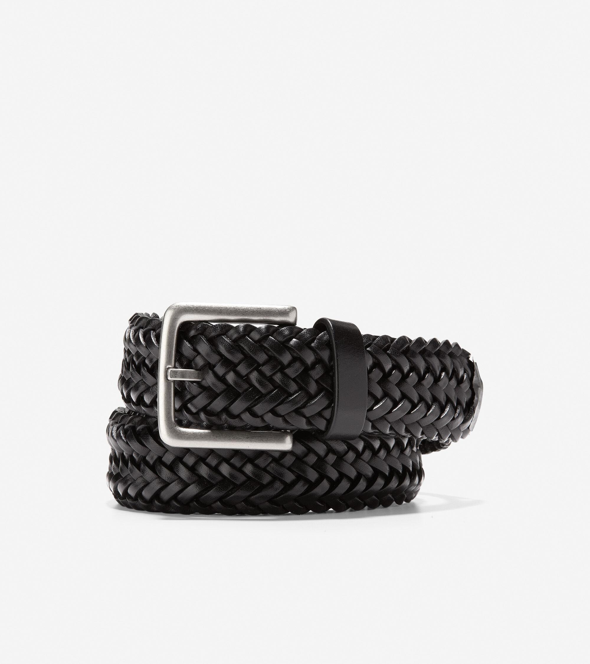 35mm Black Man-Made Plaited Woven Belt