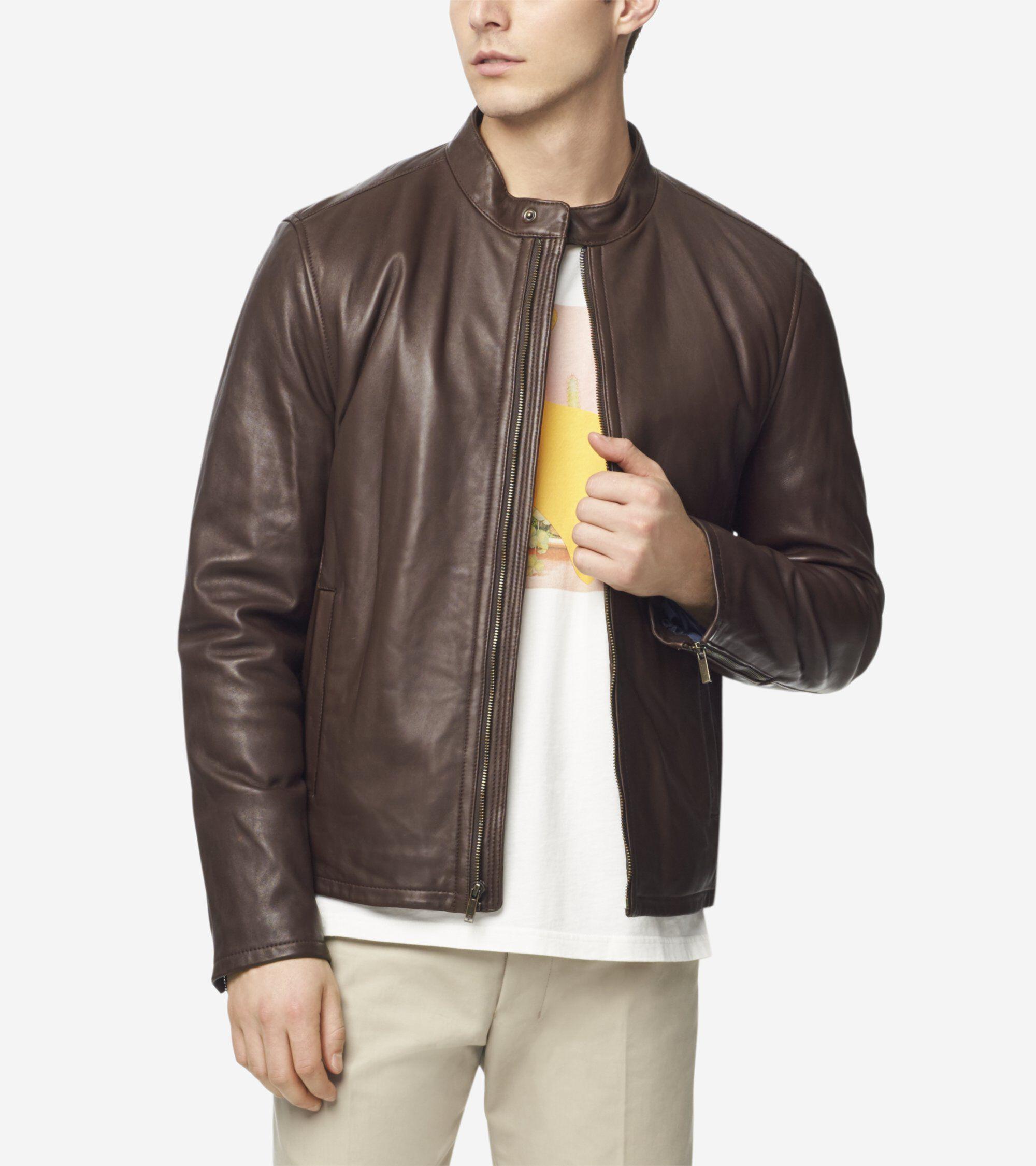 Cole Haan Men's Smooth Lamb Moto Jacket
