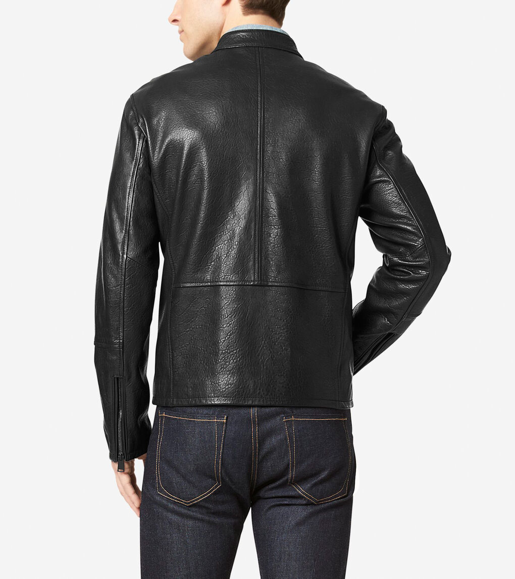 Mens Classic Leather Moto Jacket