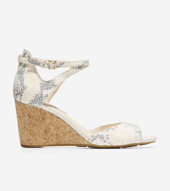 b746c00e45 Women's Sadie Open Toe Wedge Sandals 75mm in Ivory | Cole Haan
