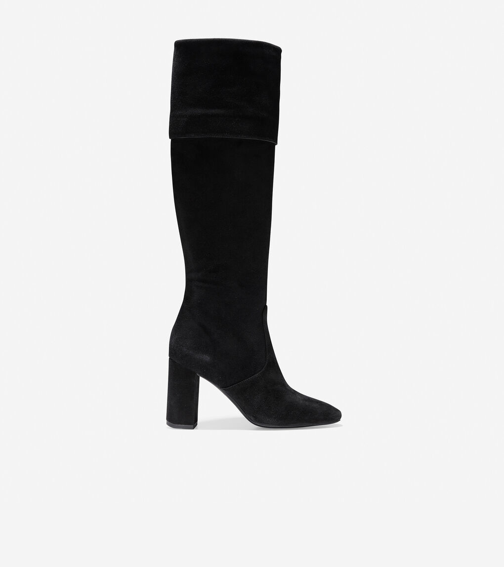 c70c5454ea2 Women's Tess Cuff Boot (85mm) in Black Suede | Cole Haan US