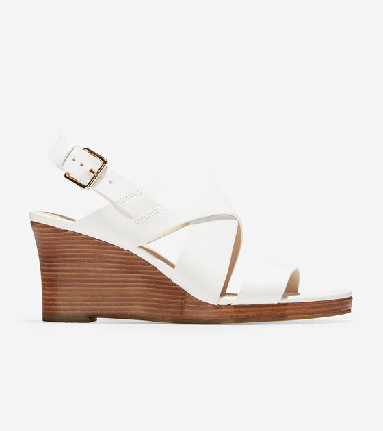 1aba64e9d4 Women's Penelope Wedge Sandals 70mm in Optic White | Cole Haan