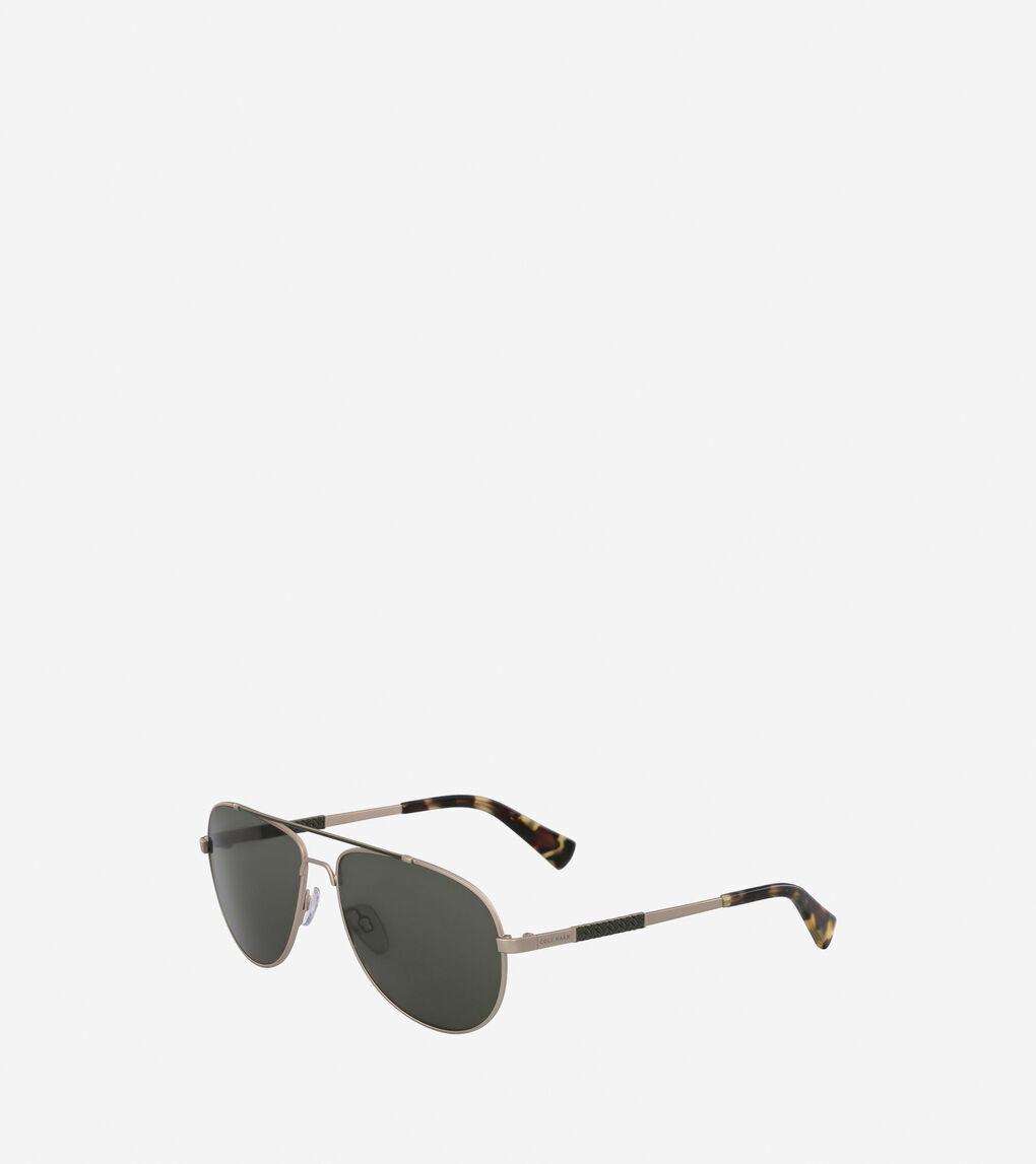 da0c45d13a67 Men's Metal Weave Aviator Sunglasses in Gold | Cole Haan US
