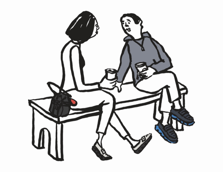 Cole Haan City Guide - Tokyo - Illustration - 2 people talk on bench