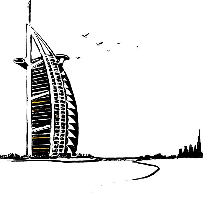 Cole Haan City Guide - Dubai - Illustration - Burj Al Arab