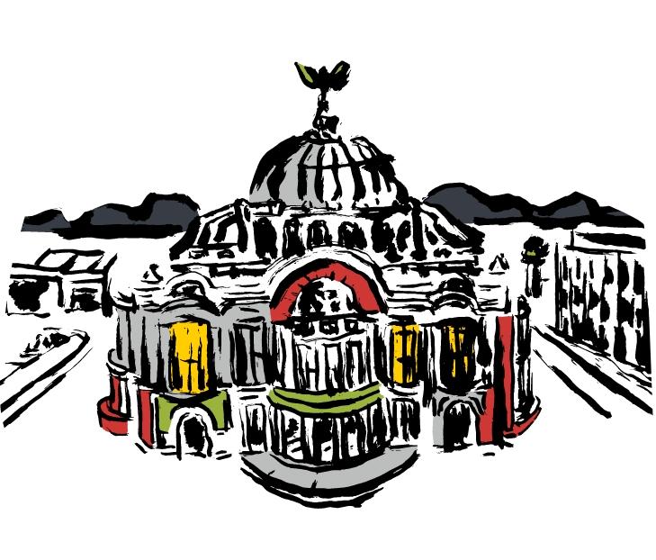 Cole Haan City Guide - Mexico City - Illustration - Palacio de Bellas Artes