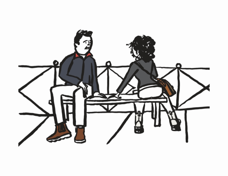 Cole Haan City Guide - London - Illustration - 2 people talking on bench